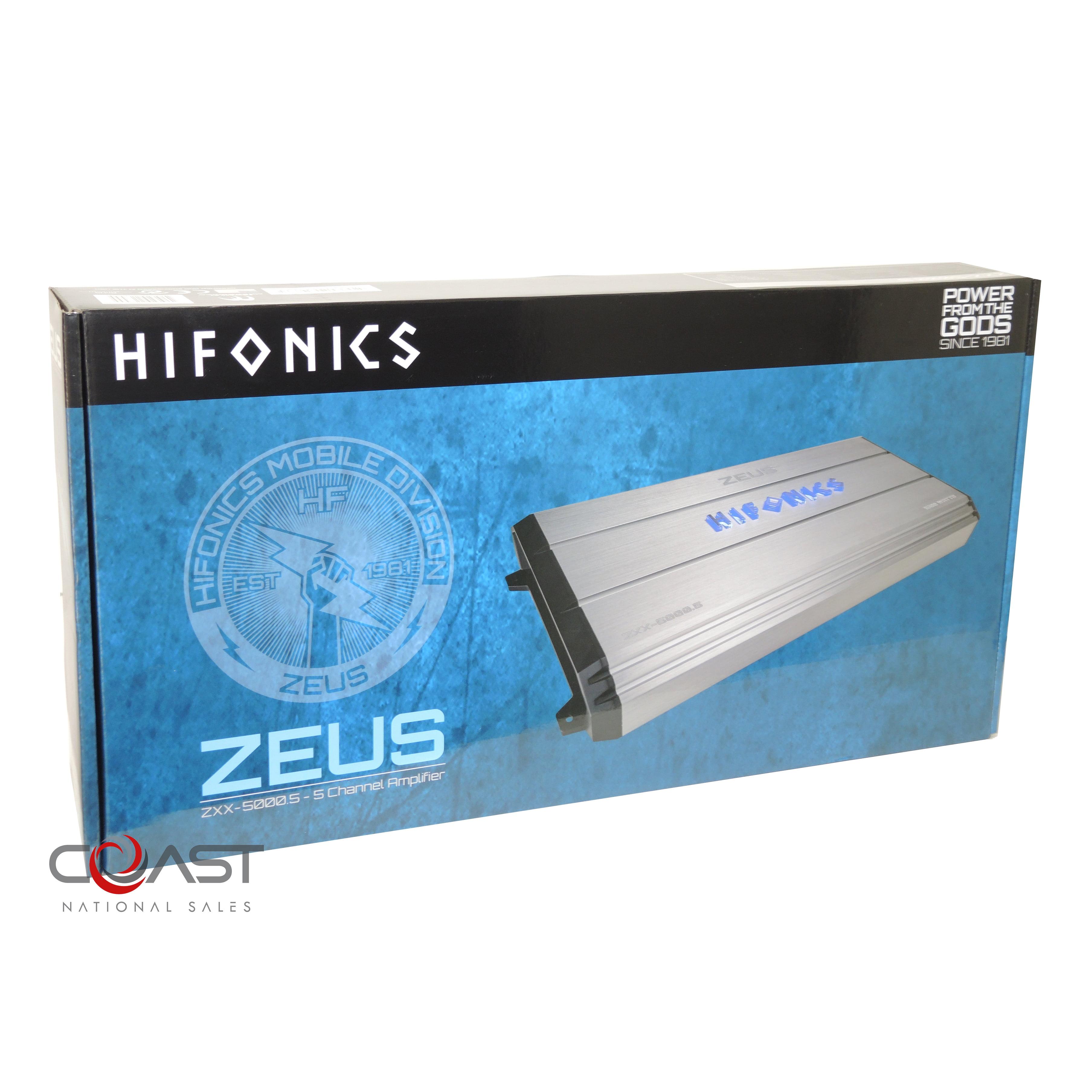 Silver//Black with Blue Hifonics ZXX-5000.5 Zeus Amplifier