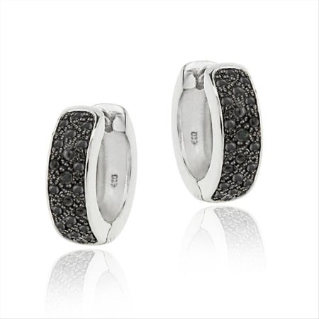 Black Diamond Accent Huggies Hoop Earrings (Diamond Channel Huggie Earrings)
