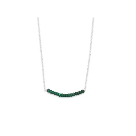 Dark Green Dyed Beryl Bead Bar Necklace Sterling Silver (Green Bead Necklace)