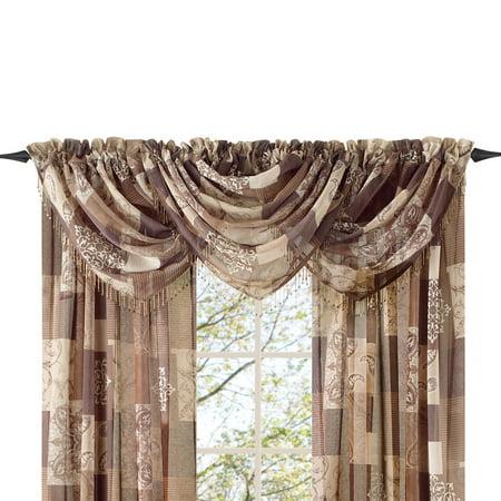 Renaissance Stripe - Style Master Renaissance Home Fashion Jasmine Tile Print Sheer Waterfall Valance, 47 by 38-Inch, Valance, Mocha