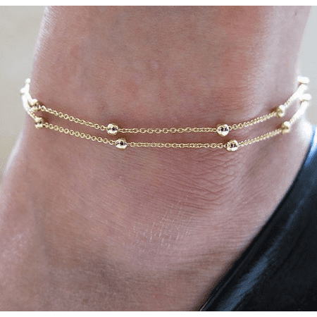 Anklet Double Beads Chain Ankle Bracelet
