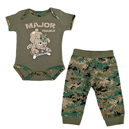 "U.S.M.C. Devil Dog 2pc Baby Boys ""Major Trouble"" Bodysuit Pants Set Woodland MARPAT Camo"