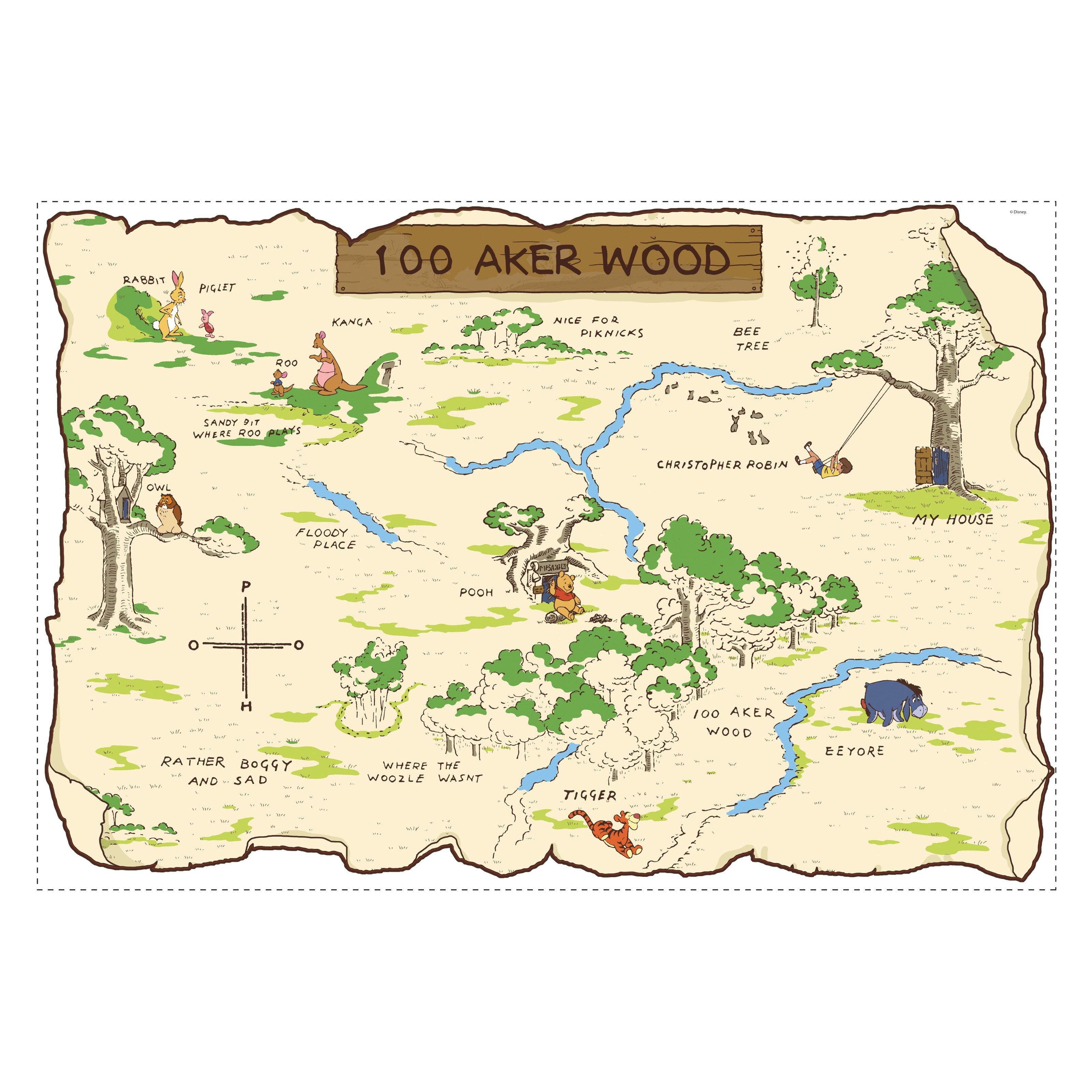 RoomMates Winnie the Pooh - 100 Aker Wood Peel & Stick Map
