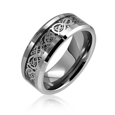 Two Tone Black Silver Celtic Knot Dragon Inlay Couples Wedding Band Tungsten Rings For Men For Women Comfort Fit -