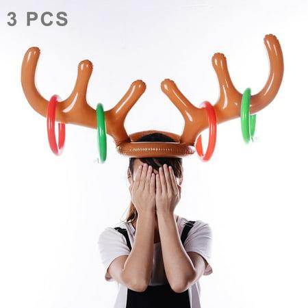 3 PCS Inflatable Reindeer Antler Cute Deer Head Child Throw Ring Games - Kids Reindeer Antlers