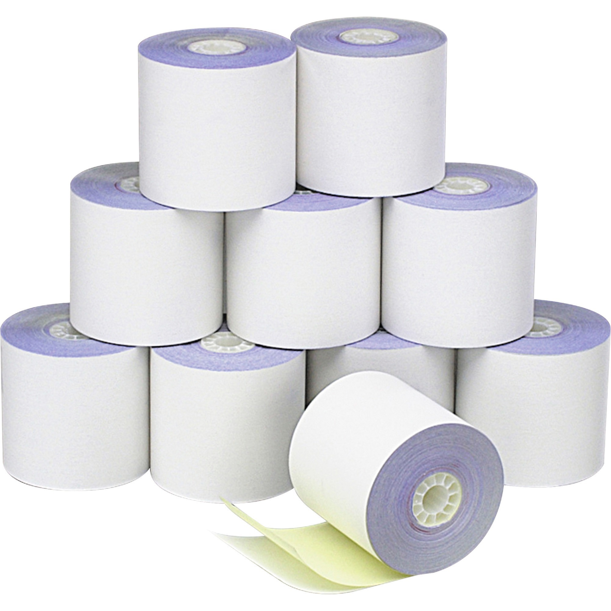 PM, PMC09325, 2-Ply Self-Contained Financial Rolls, 10 / Pack, White,Canary