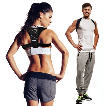 FDA Approved Posture Corrector for Women and Men by MOJOTrek - Adjustable Shoulder Support Brace and Back Straightener - Comfortable Relief from Neck and Clavicle Pain - Prevent Slouching and Hunching ()