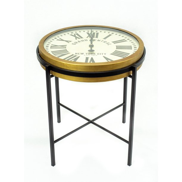 Liverpool Round End Table With Working Clock Top And Gold Black Iron Frame Walmart Com Walmart Com
