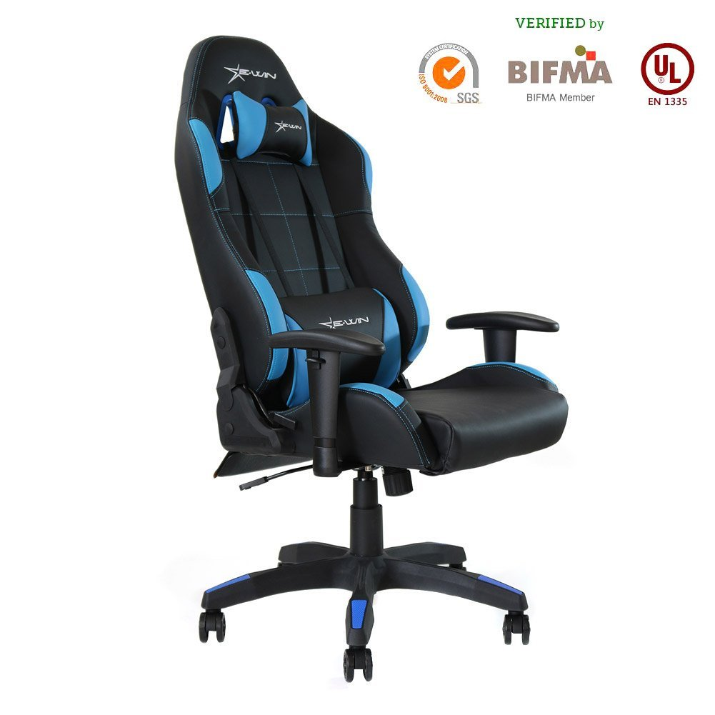 Ewin Gaming Chair With Adjustable Armrest And Backrest High Back Ergonomic  Computer Chair , Leather Swivel Executive Office Chair