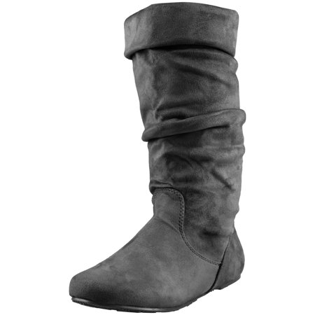 Enimay Women's Winter Fashion High Mid Calf Slouchy Casual Dress Flat Boot Black Size 5
