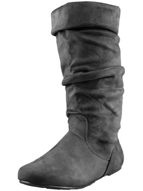 1cd8ce8f3dd5 Product Image Enimay Women s Winter Fashion High Mid Calf Slouchy Casual  Dress Flat Boot Black Size 5