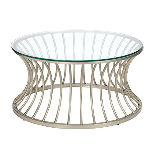 ModHaus Living Mid Century Modern Round Coffee Cocktail Table with Tempered Glass Top and Satin Nickel Metal Frame - Includes Pen
