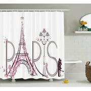 paris bathroom set. Paris City Decor Shower Curtain Set  Tower Eiffel With Lettering Illustration Couple Trip Flowers Bathroom
