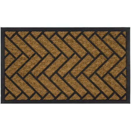 Mainstays Geometric Rubber Coir Doormat 17.5