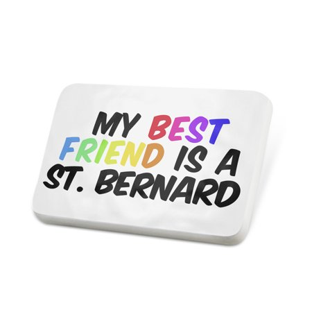 Porcelein Pin My best Friend a St. Bernard Dog from Italy, Switzerland Lapel Badge –