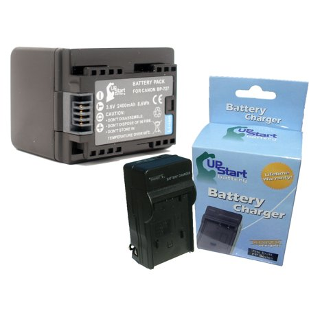 Bp 915 Lithium Ion Battery - Canon VIXIA HF R300 Battery and Charger - Replacement for Canon BP-727 Digital Camera Batteries and Chargers (2400mAh, 3.6V, Lithium-Ion)