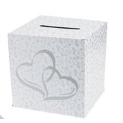 Wedding Gift Holder Card Box Silver Two Hearts Pattern