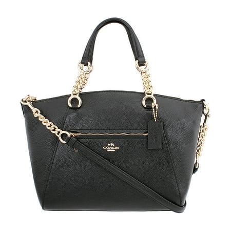 (Coach Chain Prairie Ladies Medium Leather Satchel Handbag 59501LIBLK)