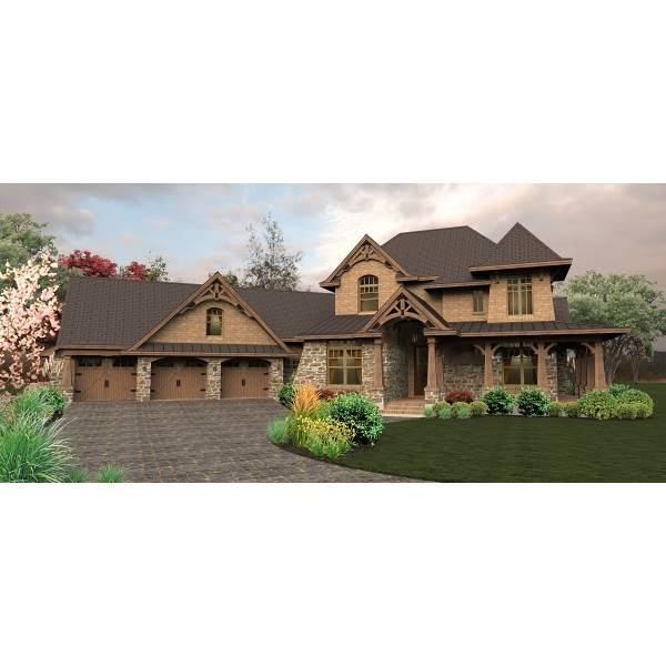 TheHouseDesigners-4440 European Craftsman House Plan with Slab Foundation (5 Printed Sets)