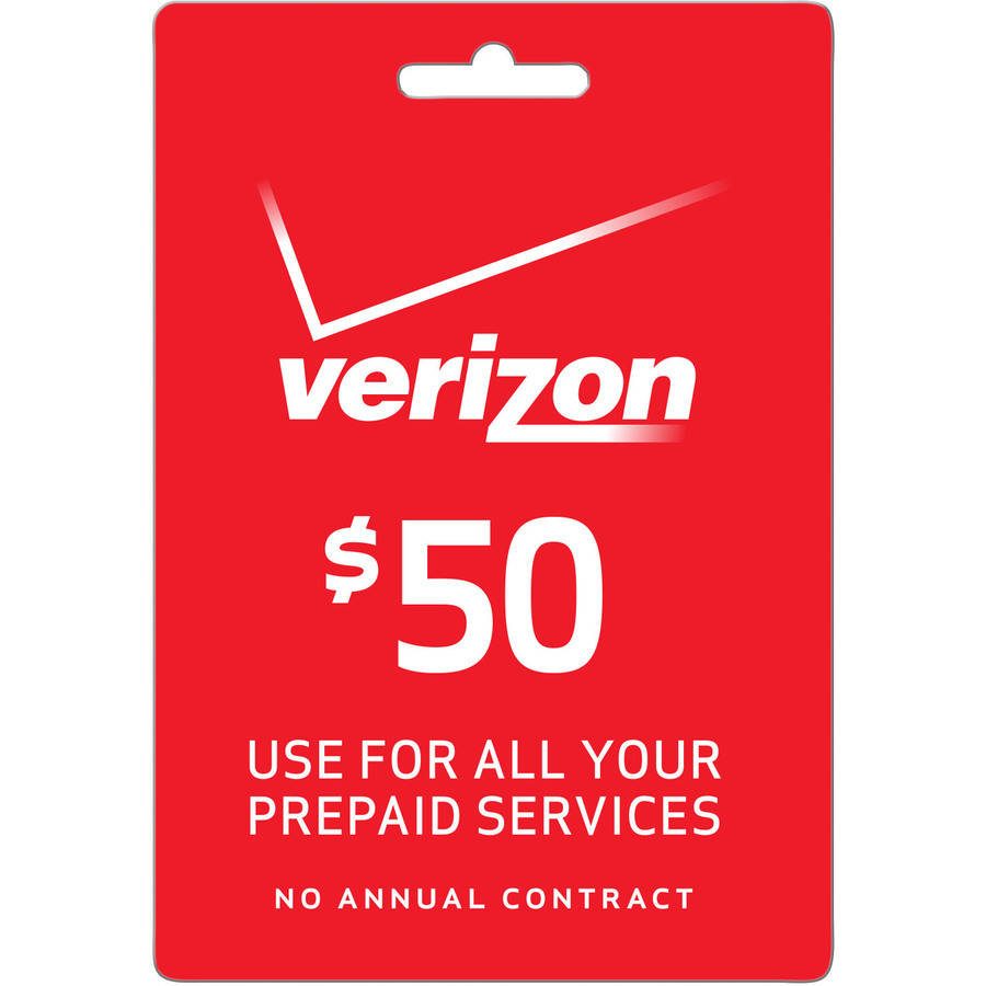 (Email Delivery) Verizon Wireless $50 Refill Prepaid Airtime or Mobile Broadband Monthly Access