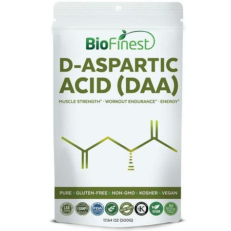 Biofinest D-Aspartic Acid (DAA) Powder 3500mg - Pure Gluten-Free Non-GMO Kosher Vegan Friendly - Supplement for Muscle Strength, Workout Endurance, Energy, Brain Focus