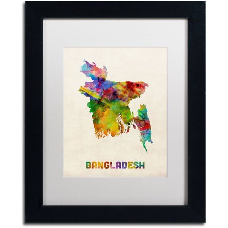 Trademark Fine Art 'Bangladesh Watercolor Map' Canvas Art by Michael Tompsett, White Matte, Black Frame