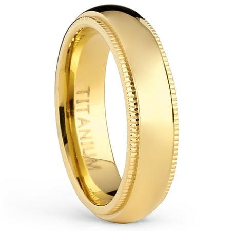 Goldtone Titanium Wedding Band Engagement Ring, Milgrain Edges Comfort Fit, 5mm