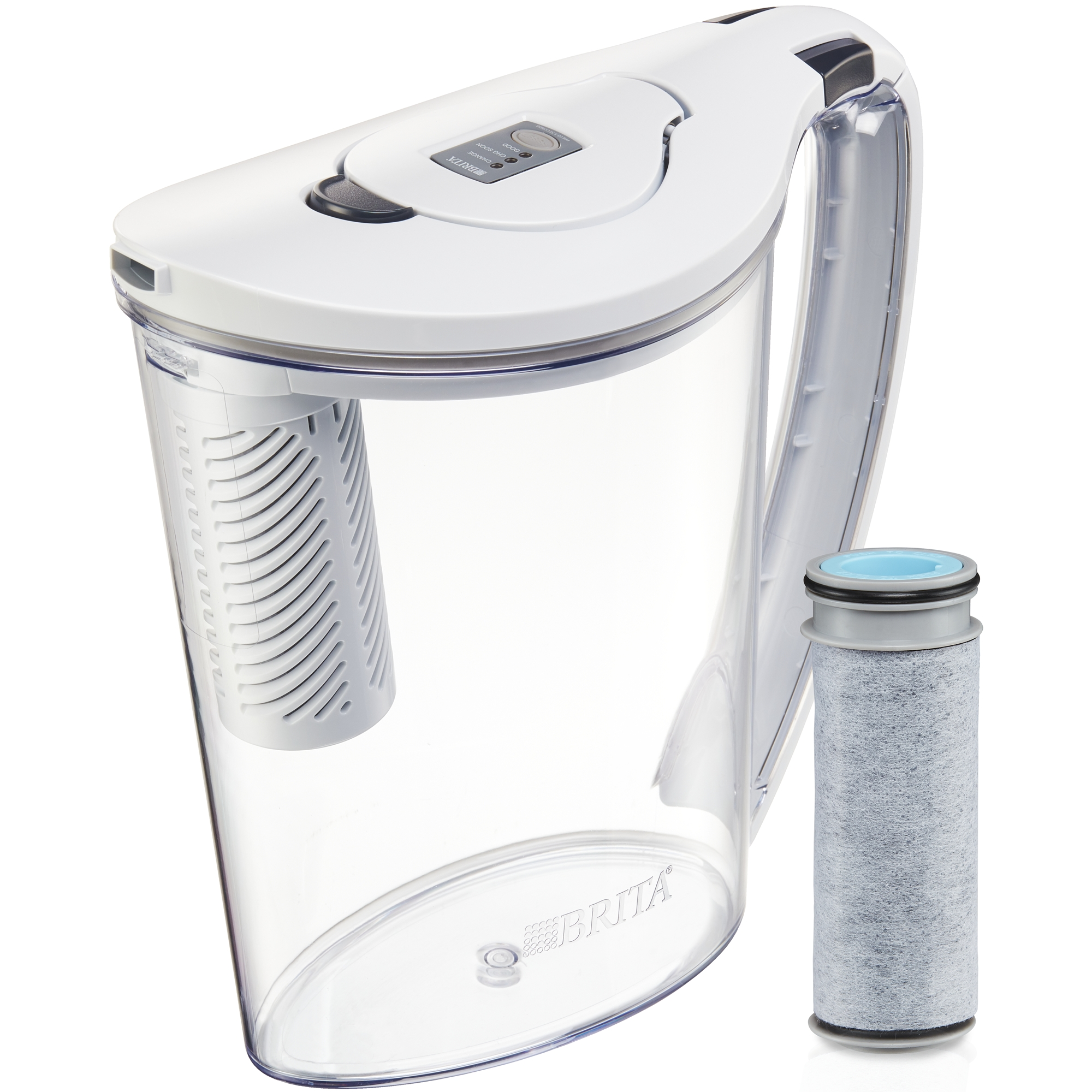 Brita Stream Filter as You Pour Water Pitcher with 1 Filter, Hydro, BPA Free, Chalk White - 10 Cup