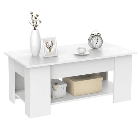 - Modern Lift up Top Coffee Table with Storage Shelf White