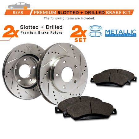 Max Brakes Rear Performance Brake Kit [ Premium Slotted Drilled Rotors + Metallic Pads ] TA085132 | Fits: 2004 04 2005 05 2006 06 2007 07 Nissan Titan - image 4 de 8