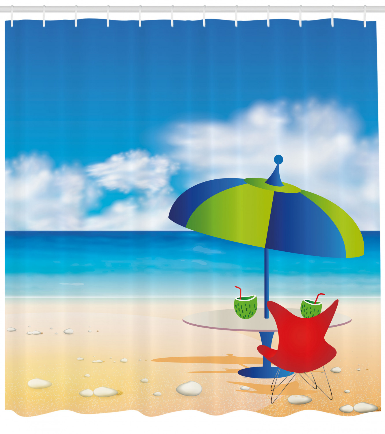Beach Shower Curtain Relaxing Scene With Umbrella And Drinks Open Skyline Holiday Destination Summer Time Fabric Bathroom Set With Hooks