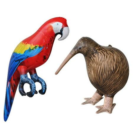 Inflatable Kiwi Bird Parrot Animal Toy Party Gift Kids (KIWI+PARROT) - Inflatable Parrot