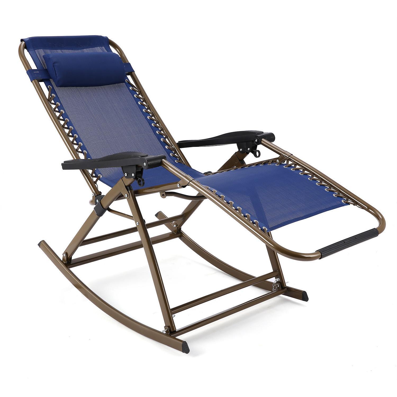 Folding Rocking Chair Zero Gravity Rocker Reclining Chair...