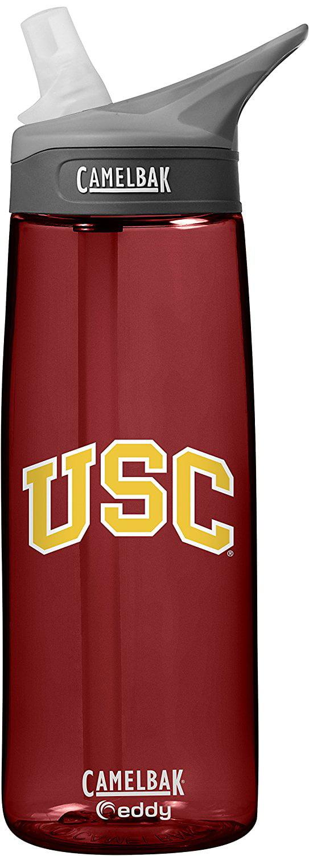 NCAA USC Trojans Unisex CamelBak Eddy 75L Collegiate Water Bottle, Cardinal, 75 Liter by