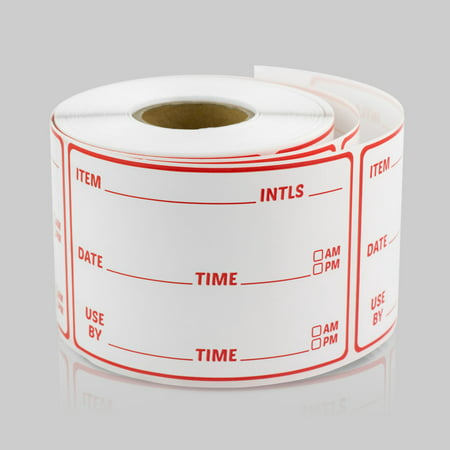 Restaurant Inventory Stickers (3 x 2 inch, 300 Labels per Roll, 10 Rolls, Red) for Food Rotation, Kitchens or Food Trucks