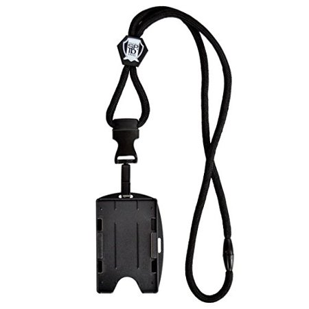 Specialist ID Black Lanyard with Detachable Plastic Hook and 2-Card ID Badge Holder