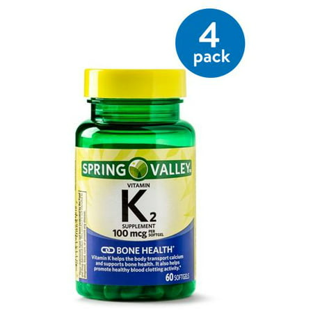(4 Pack) Spring Valley Vitamin K2 Softgels, 100 mcg, 60