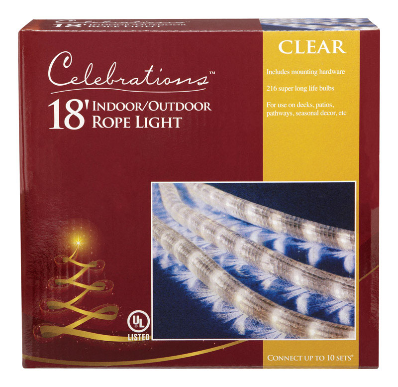 Celebrations  Incandescent  Multicolored  Rope Lights  Clear  18 ft 216 lights