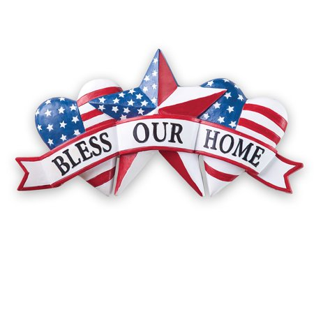 Patriotic Bless our Home Banner-Style Metal Wall Décor with Hearts and Star - Seasonal Decorative Accent for Outdoor or Indoor (33 Outdoor Wall)