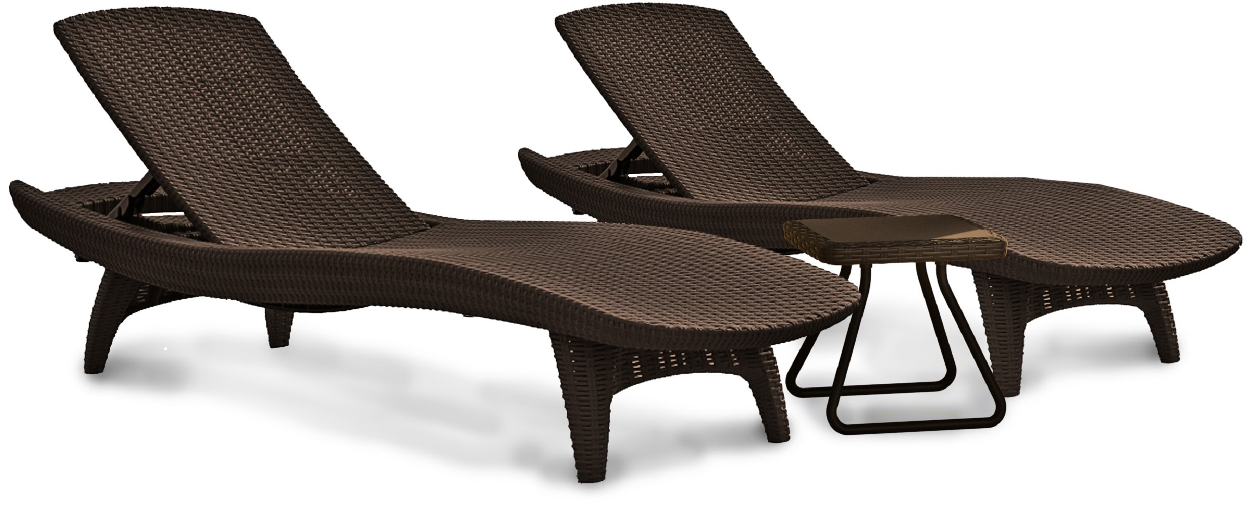 Keter Pacific Chaise Sun Lounger and Side Table Set