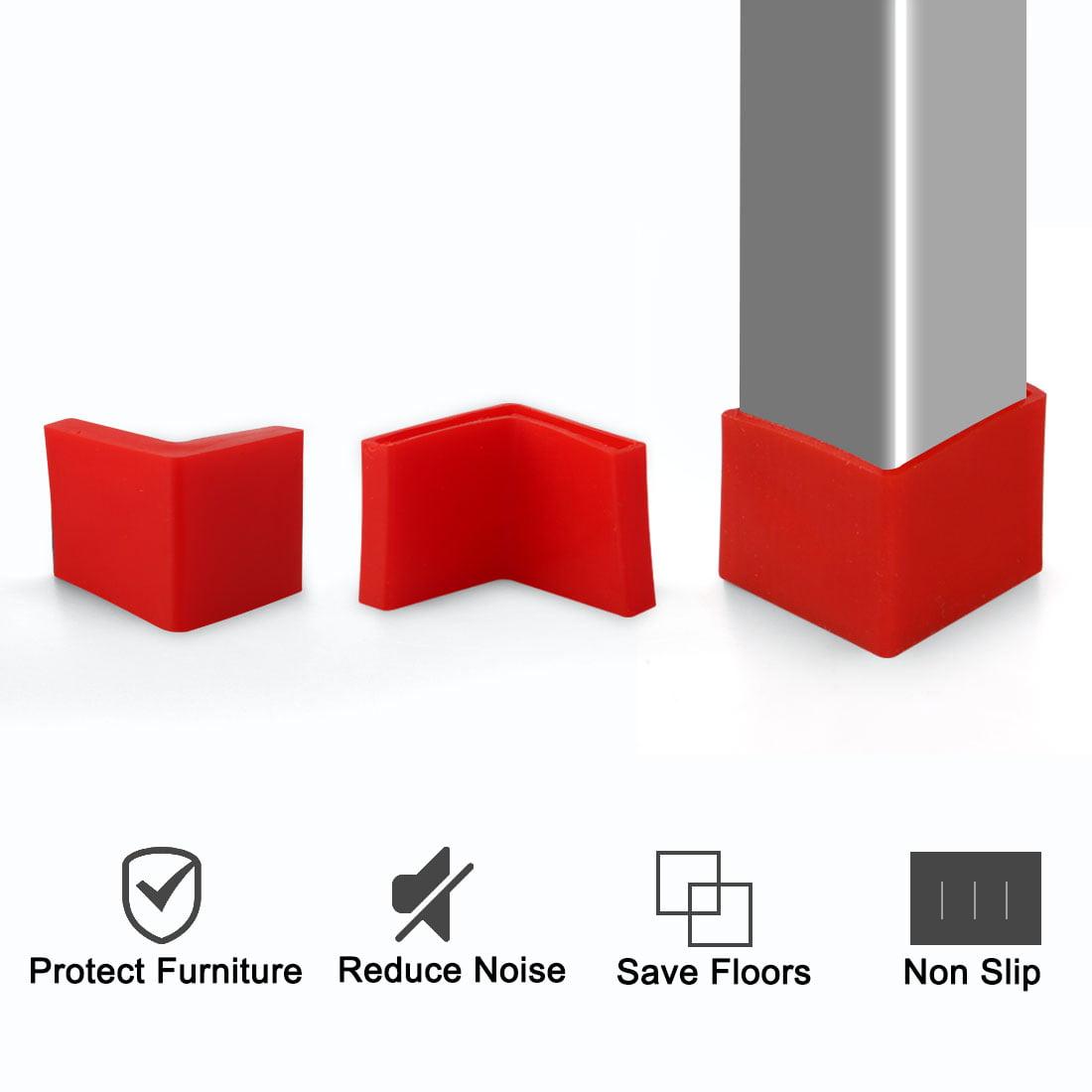 30mm x 30mm Angle Iron Foot Pad L Shaped PVC Leg Caps Floor Protector Red 12 Pcs - image 4 de 7