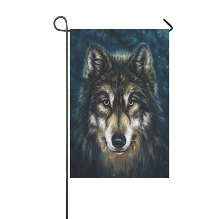MYPOP Unique Wolf Head Long Garden Flag Banner 12 x 18 inch