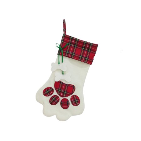 463274bed5a Christmas Stocking for Pet Dog or Cat with Large Paw Hanging Plaid Xmas  Stockings for Christmas Decorations and Holiday Decor (Red Paw) -  Walmart.com