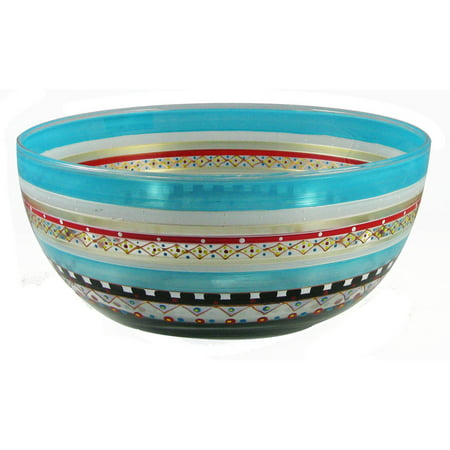 Mosaic Carnival Confetti Hand Painted Glass Serving Bowl 11
