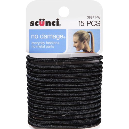 Scunci No Damage Hair Ties, Black Satin, 15 count