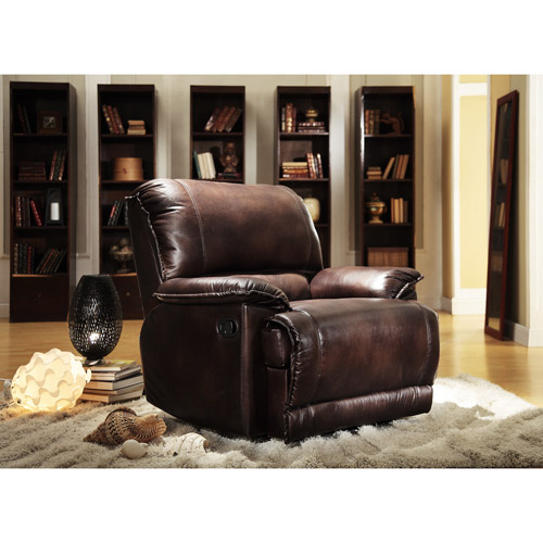 Polished Microfiber Recliner Chair, Dark Brown