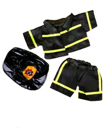 """Black Firefighter w Hat Teddy Bear Clothes Fits Most 14"""" 18"""" Build-A-Bear,... by Teddy Mountain"""