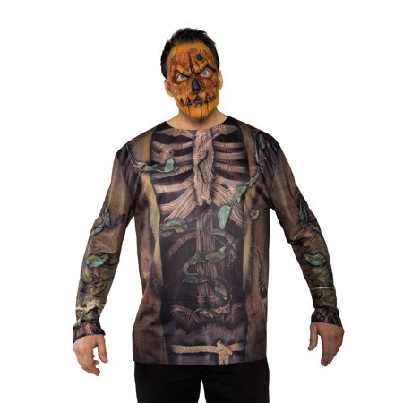 Scarecrow Photo Real Shirt Adult Male Halloween Tshirt Set - One Size - Photo Sorciere Halloween