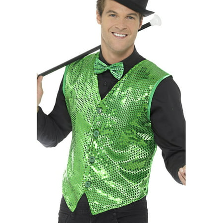 Mens Fancy Dress Green Sequin Magicians Waistcoat Vest Costume](Mens Halloween Fancy Dress Idea)