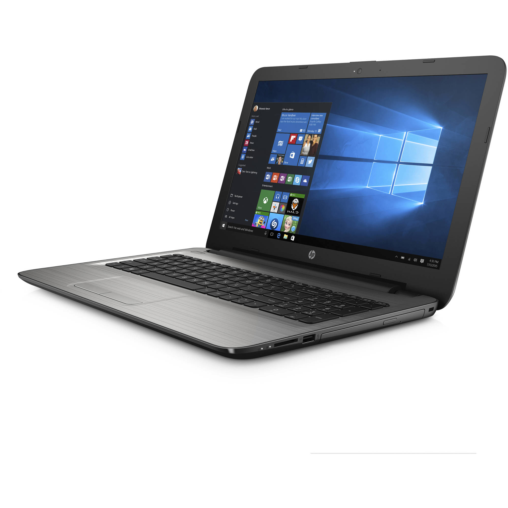 "hp 15 ay041wm 15.6"" silver fusion laptop, touch screen"